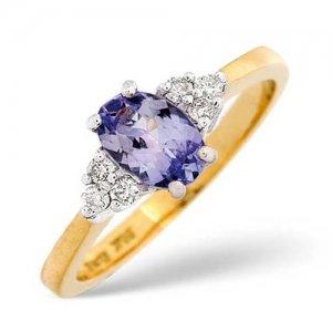 Diamond Rings  - 0.12 Carat Diamond and Tanzanite Ring
