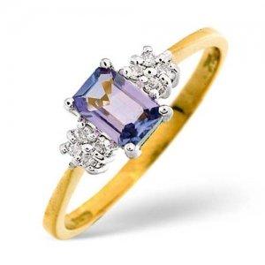 Diamond Rings  - 0.06 Carat Diamond and Tanzanite Ring