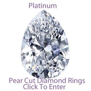 Pear Cut Platinum Diamond Engagement Solitaire Rings