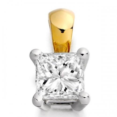 18ct Gold Princess Cut Diamond Pendant