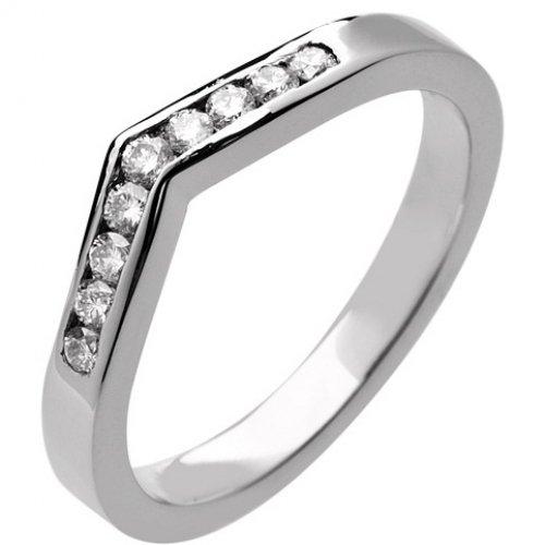 Shaped Diamond Wedding Ring 2.5mm (9R939.Di.9) 9ct White Gold