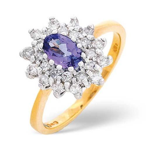 Diamond Rings  0.36 Carat Diamond and Tanzanite Ring