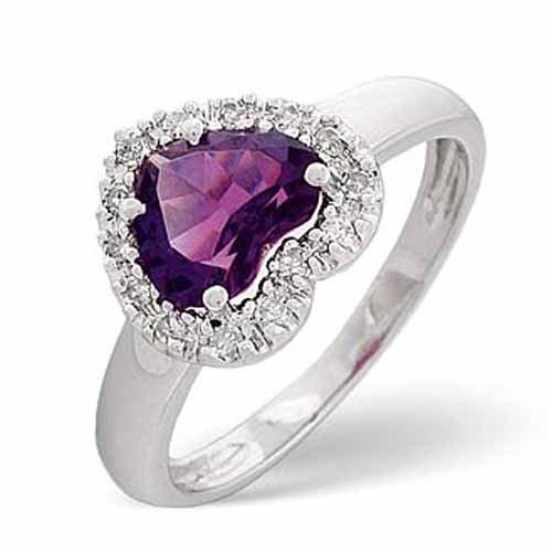 Diamond Rings 0.10 Diamond and Amethyst Heart Ring