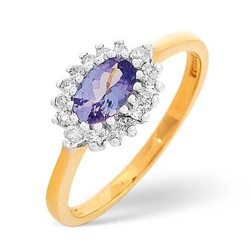 Diamond Rings  - 0.15 Carat Diamond and Tanzanite Ring