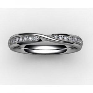Shaped Diamond Wedding Ring (SW015-Plat) Platinum