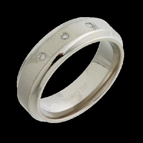 Diamond Inlaid (TI13-7 3x2p) Titanium Wedding Ring