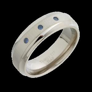Sapphire Inlaid ( TI13-7 3xsap) Titanium Wedding Ring