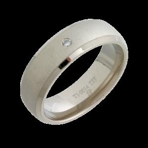 Diamond Wedding Ring (TI14-7 1X5) Titanium