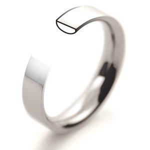 Plain Flat Court Profile Wedding Rings - 18ct White Gold